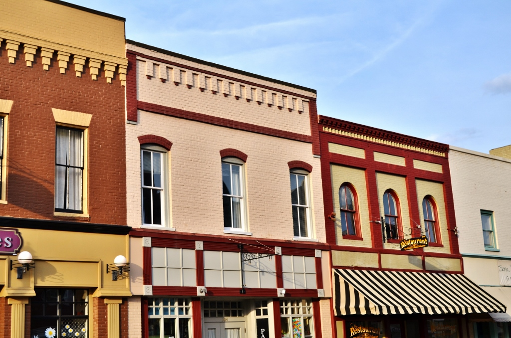 This is a photo showing antique shops and other buildings in downtown Culpeper, VA.