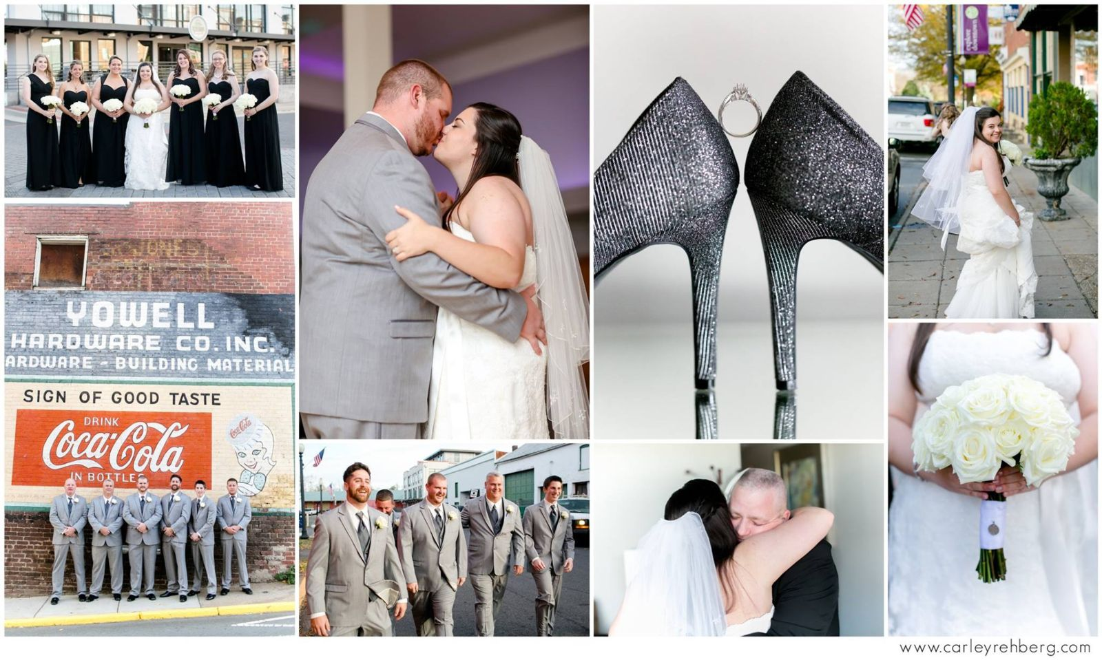 A collage of wedding photos, featuring photos of the bride and groom