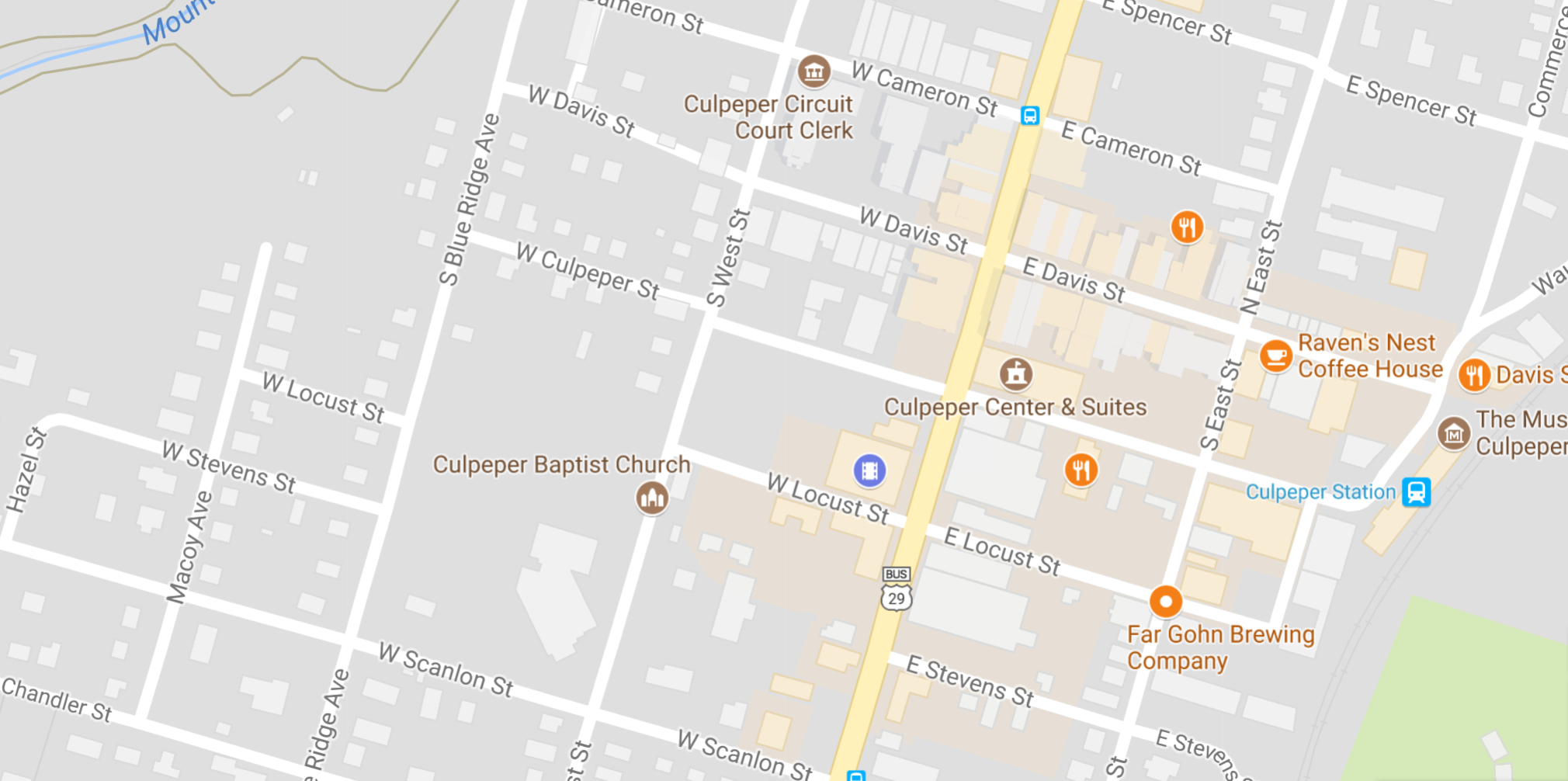 This is a map of downtown Culpeper, VA.